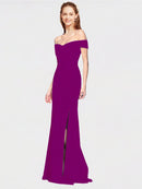 Wild Berry Mermaid Off the Shoulder Sleeveless Long Crepe Bridesmaid Dress Thitina