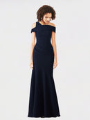 Dark Navy Mermaid Cross Shoulder Sleeveless Long Crepe Bridesmaid Dress Nicola