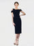 Dark Navy Mermaid Cross Shoulder Sleeveless Short Crepe Bridesmaid Dress Kalyn