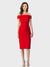 Red Sheath One Shoulder Sleeveless Short Crepe Bridesmaid Dress Carol