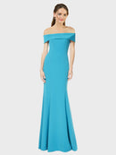 Peacock Blue Sheath Off the Shoulder Sleeveless Long Crepe Bridesmaid Dress Thitina