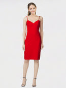Red Sheath Sweetheart Sleeveless Short Crepe Bridesmaid Dress Bekki