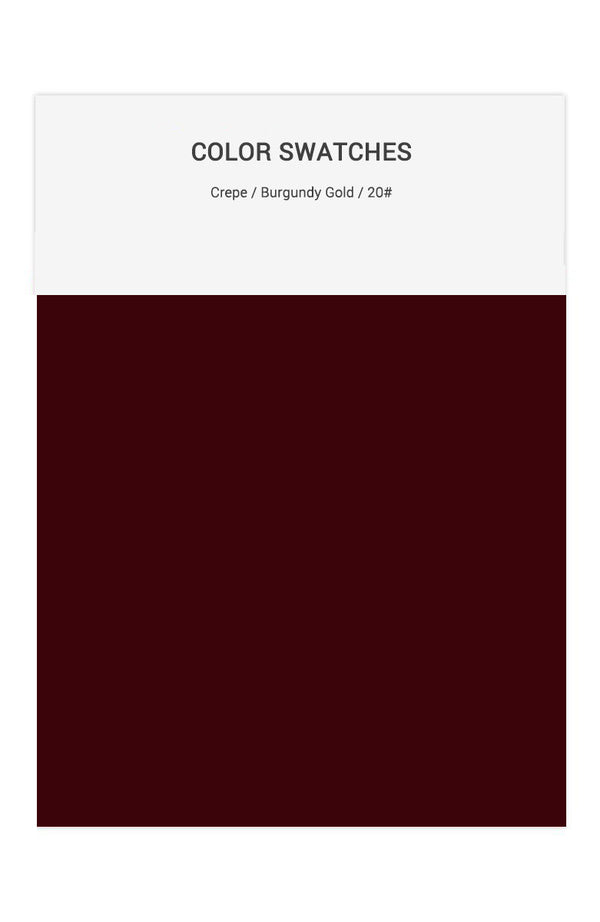 Burgundy Gold Color Swatches for Crepe Bridesmaid Dresses