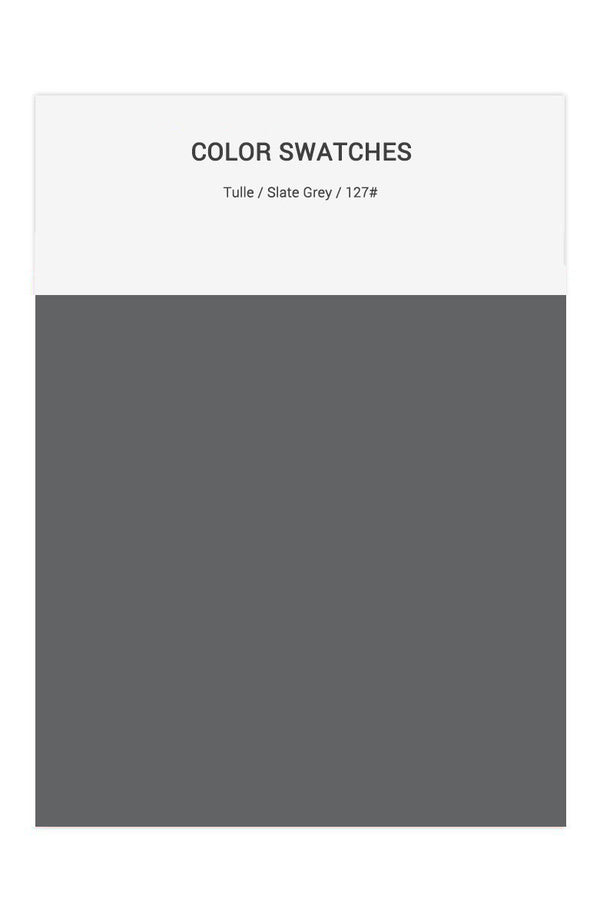 Slate Grey Color Swatches for Tulle Bridesmaid Dresses