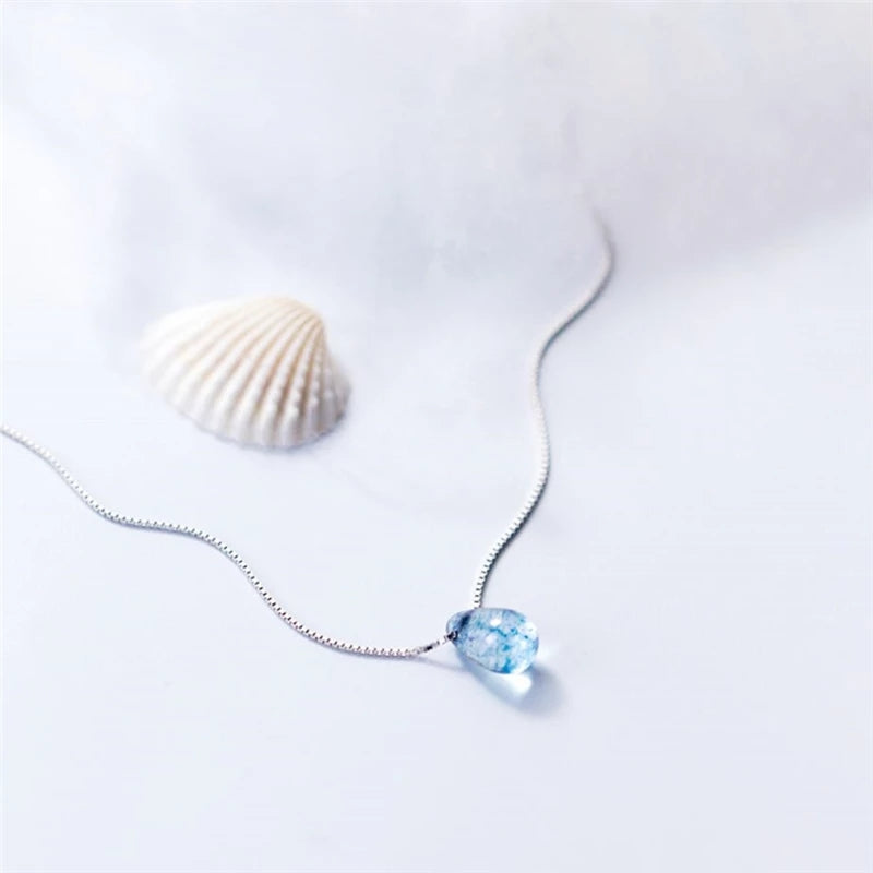 Ocean Droplet Sterling Silver Necklace