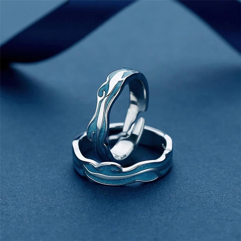 Blue Glazed Wave Sterling Silver Rings