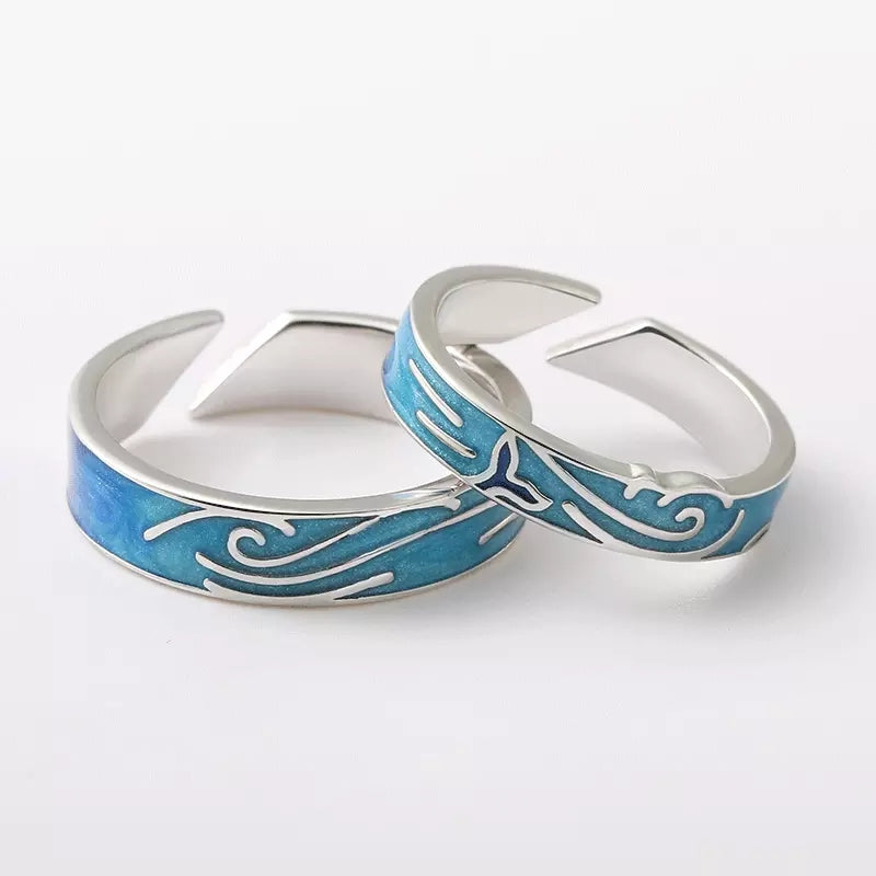 Whale and Wave Sterling Silver Rings