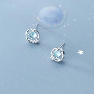 Clean Waves Jewellery Orbiting Star Sterling Silver Earrings