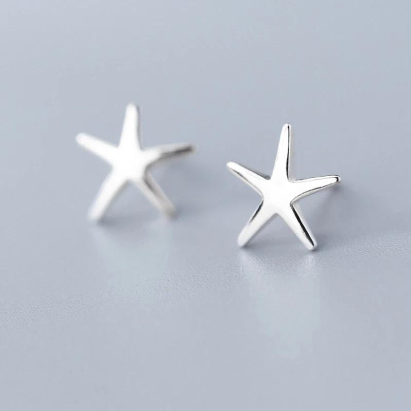 Clean Waves Jewellery Striking Starfish Sterling Silver Stud Earrings