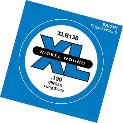 D'Addario XLB130 Nickel Wound Bass Guitar Single String, Long Scale .130