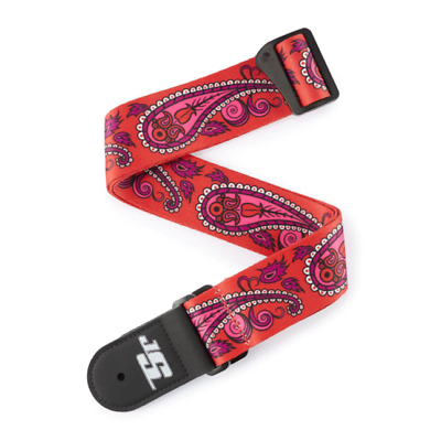 D'Addrio Joe Satriani Guitar Strap,Paisley Red 50JS12