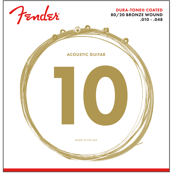 Fender Dura-Tone 880XL 80/20 Coated Acoustic Strings  10-48 P/N 0730880002