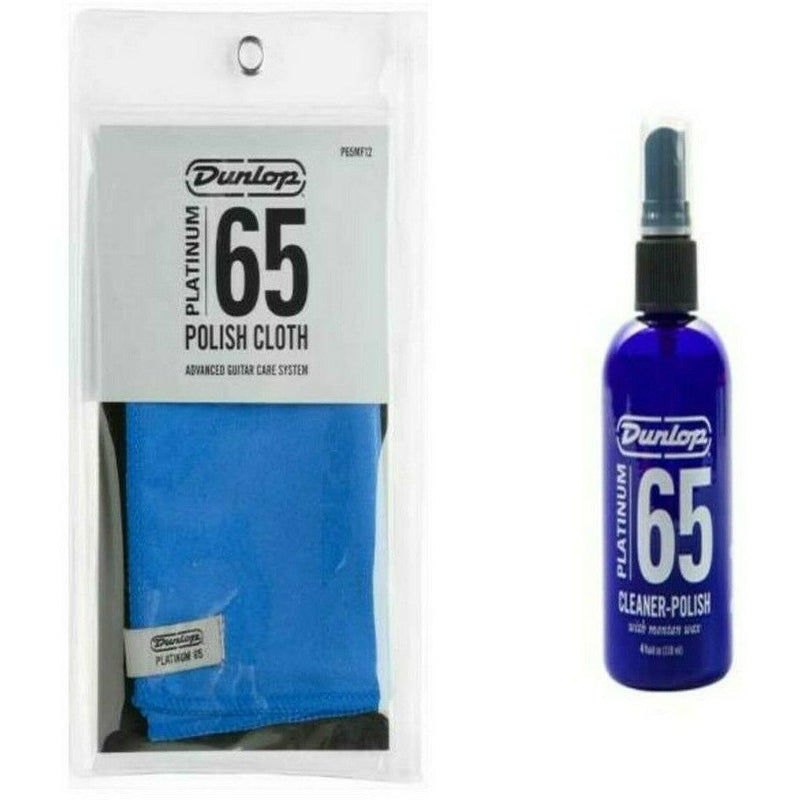 Dunlop P65MF12 Care and Cleaner Cloth + Dunlop Platinum 65 Cleaner/Polish P65CP4