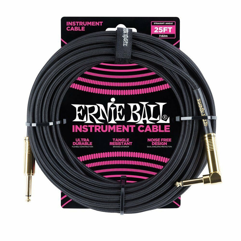 Ernie Ball 25' Braided Straight / Angle Instrument Cable Black P06058