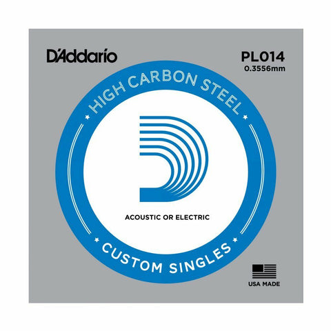 5 X D'ADDARIO PLAIN STEEL SINGLE GUITAR PL014.Electric or Acoustic 5 Pack