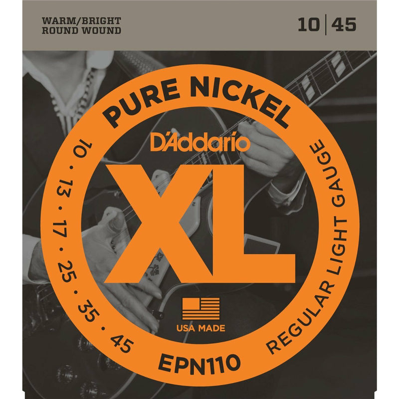 D'Addario EPN110 XL Pure Nickel Electric Guitar Strings. 10, 13, 17, 25, 35, 45.
