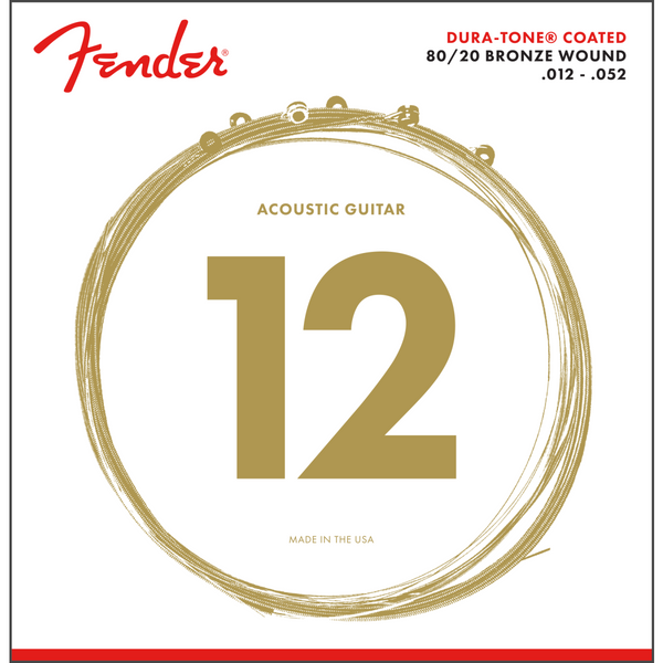 Fender Dura-Tone® 880L 80/20 Coated Acoustic Strings 12-52 P/N 0730880303