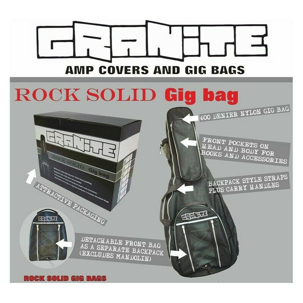 "Granite Acoustic Bass Guitar 46.5"" Gig Bag with Detachable Front Bag GTMABAGA"