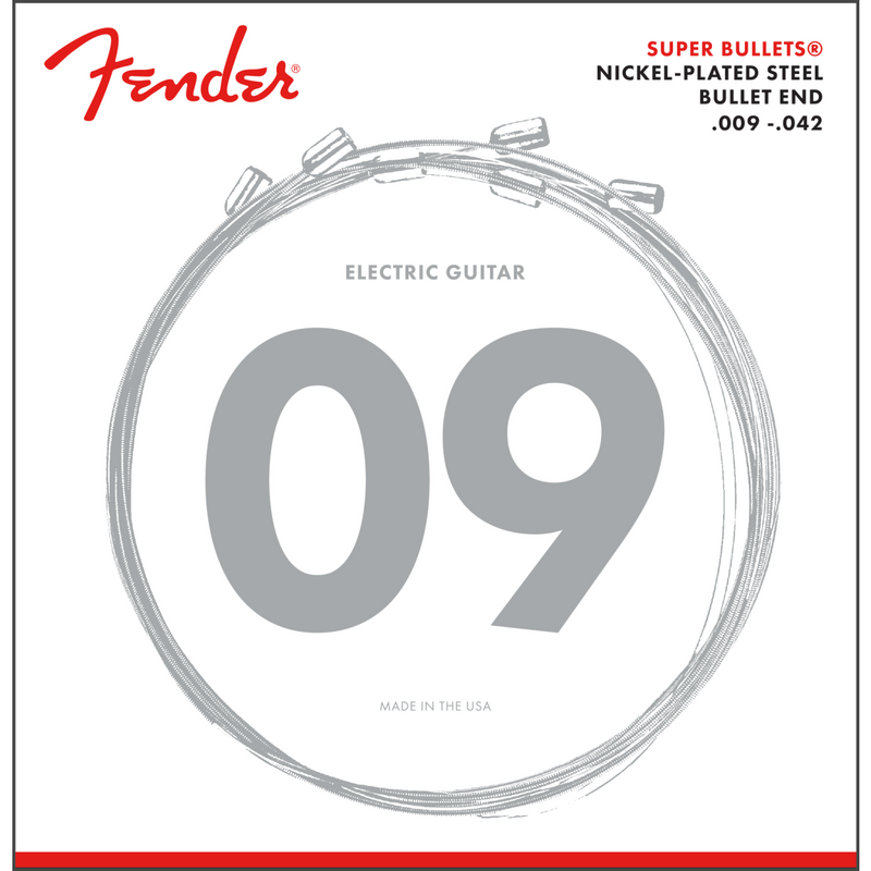 Fender 3250L Super Bullet Strings, Nickel Plated Steel, Bullet End, .009-.042