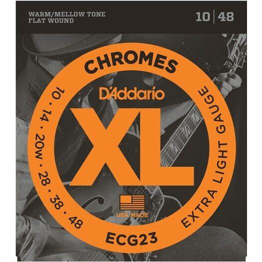 2 x Packs D'Addario ECG23 Flat Wound Chromes. Extra Light Electric Strings 10-48