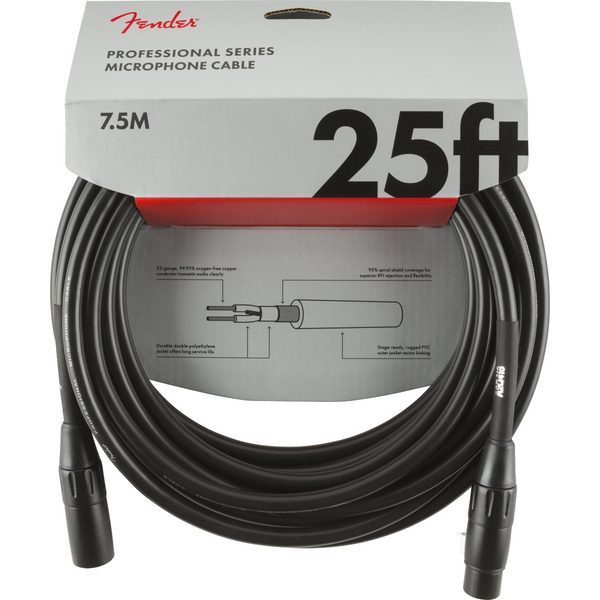 Fender  Professional Series Microphone Cable, 25ft Black P/N 0990820015