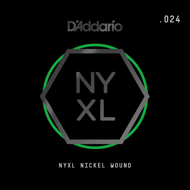 D'Addario NYNW024 NYXL Nickel Wound Electric Guitar Single String, X 2 Strings