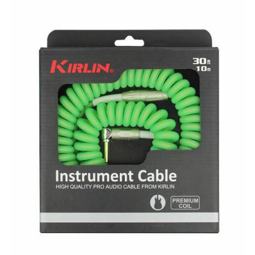 Kirlin Premium Coil 30ft Guitar Cable Green IMK202COILG