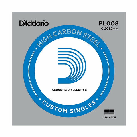 5 X D'ADDARIO PLAIN STEEL SINGLE GUITAR PL008.Electric or Acoustic 5 Pack