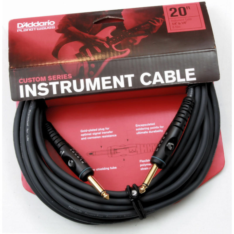 D'Addario PW-G-20 20' Custom Series Cable - Straight-Straight.