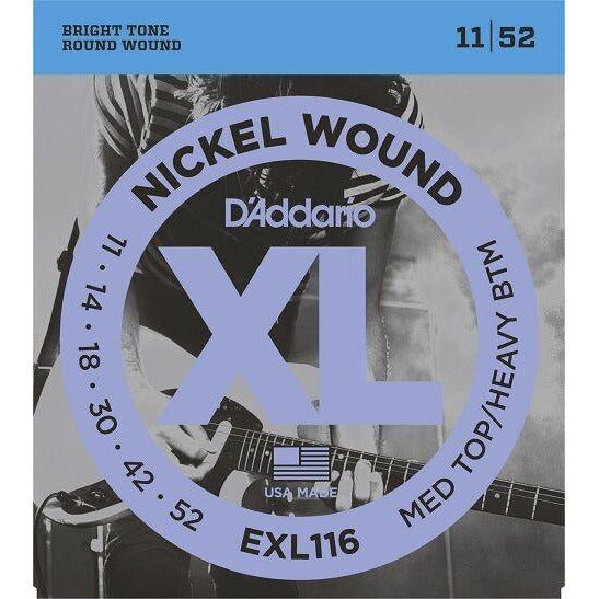 D'Addario EXL116   Nickel Guitar Strings, 11-52 Medium Top -  Heavy Bottom