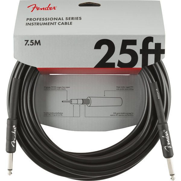 Fender Pro Series Instrument Cable, Str-Straight 25ft Black P/N 0990820016