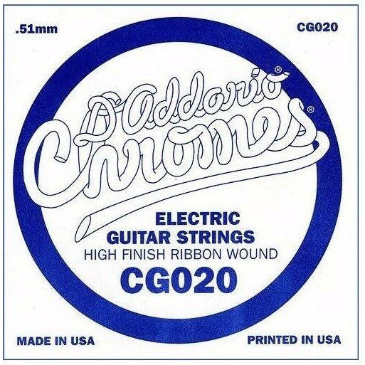 D'Addario CG020 Chrome Flatwound Electric Guitar Single Strings Gauge 020 5 Pack