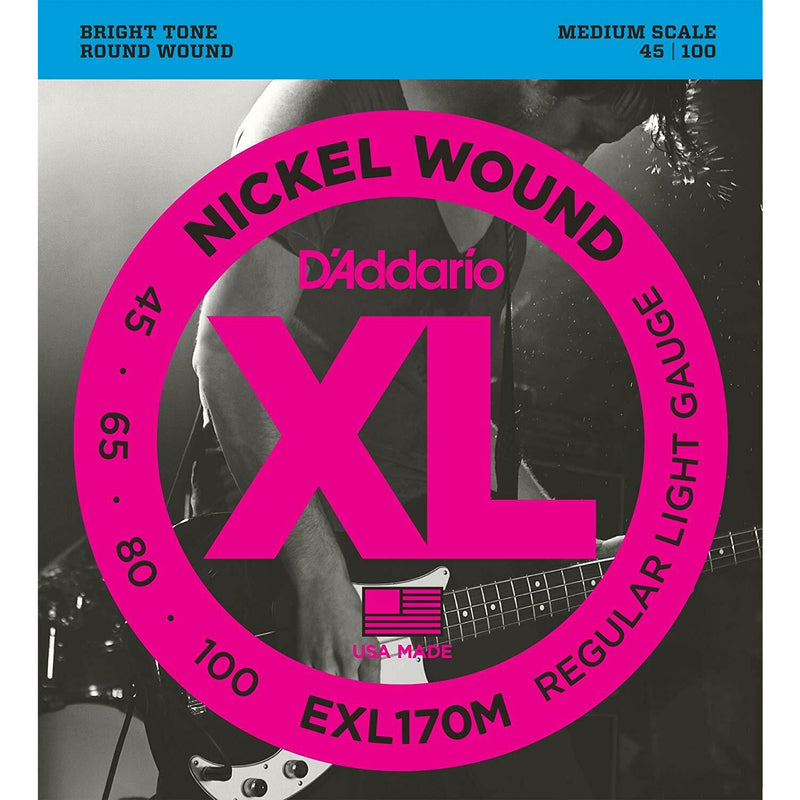 D'ADDARIO EXL170M 4-String Nickel Wound 45-100 Medium Scale Bass Strings