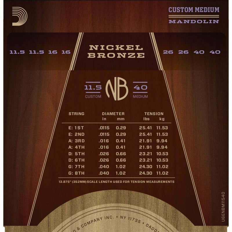 D'Addario Nickel Bronze Acoustic Mandolin Strings, 11.5-40 Medium