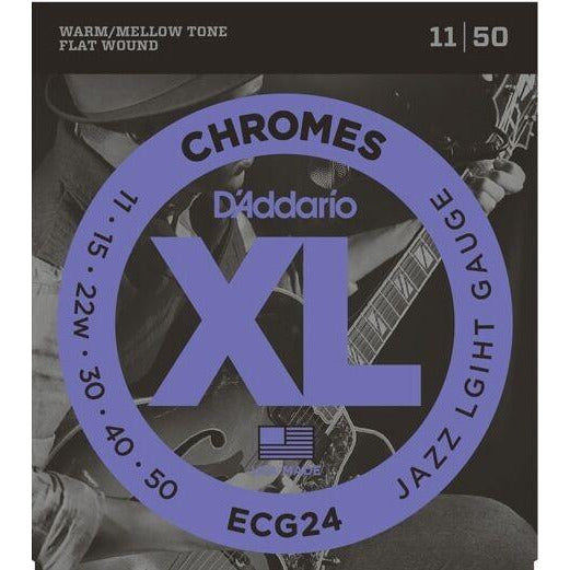 2 x Packs D'Addario ECG24 Flat Wound Chromes Custom Light Electric Strings 11-50
