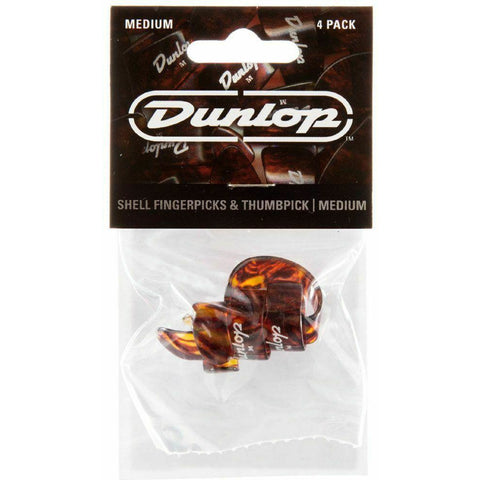 Dunlop 9010TP Finger Thumbpick Player's Pack, 4 Pcs Shell Plastic, Medium