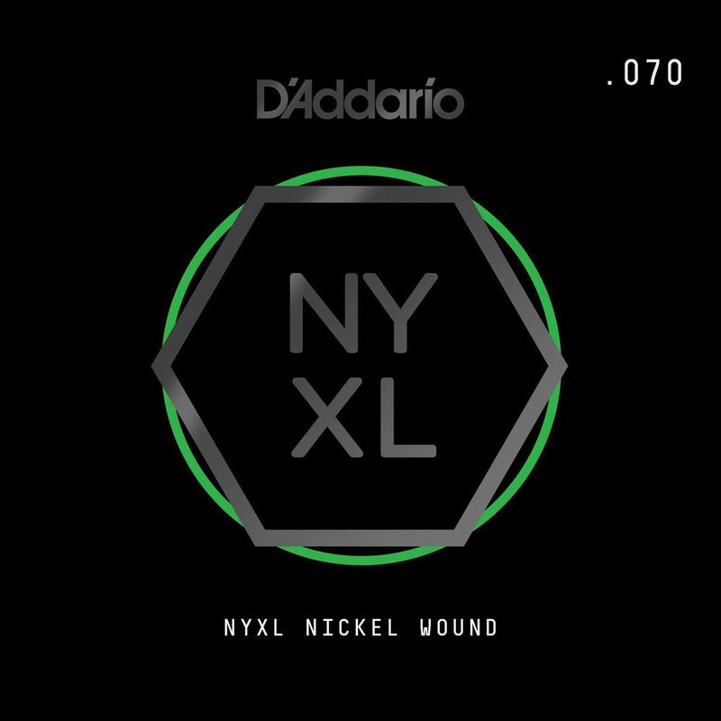 D'Addario NYNW070 NYXL Nickel Wound Electric Guitar Single String, X 2 Strings