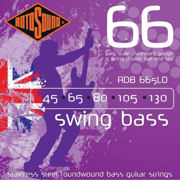 Rotosound RDB665LD 5 String S/S Roundwound Double Ball End Bass String 45-130