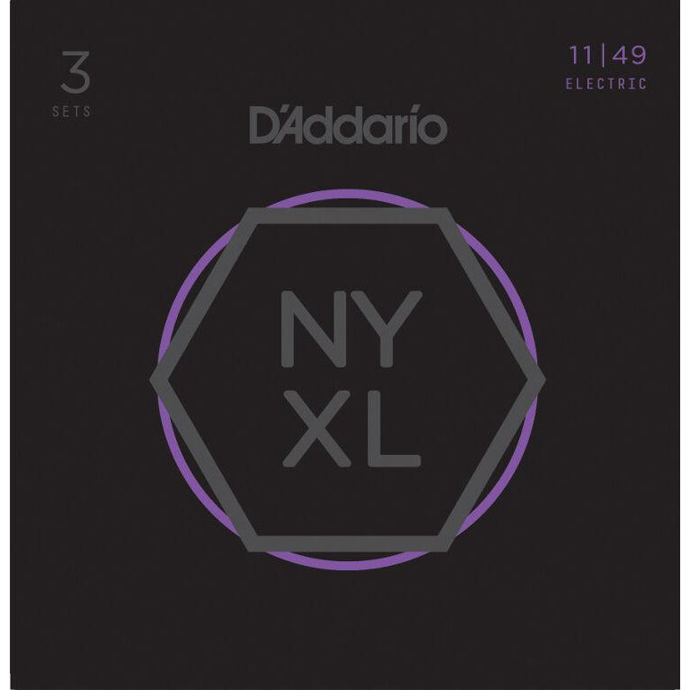 3 Pack D'Addario NYXL Nickel Wound Medium Gauge Guitar Strings NYXL 1149-3P