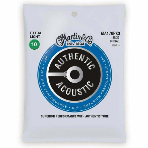 3-Pack Martin Authentic Acoustic MA170PK3 SP 80/20 Bronze 10-47 Guitar Strings