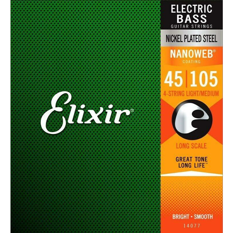 Elixir 14077 Nickel Plated Steel Nanoweb Bass Guitar Strings, Medium, 45-105
