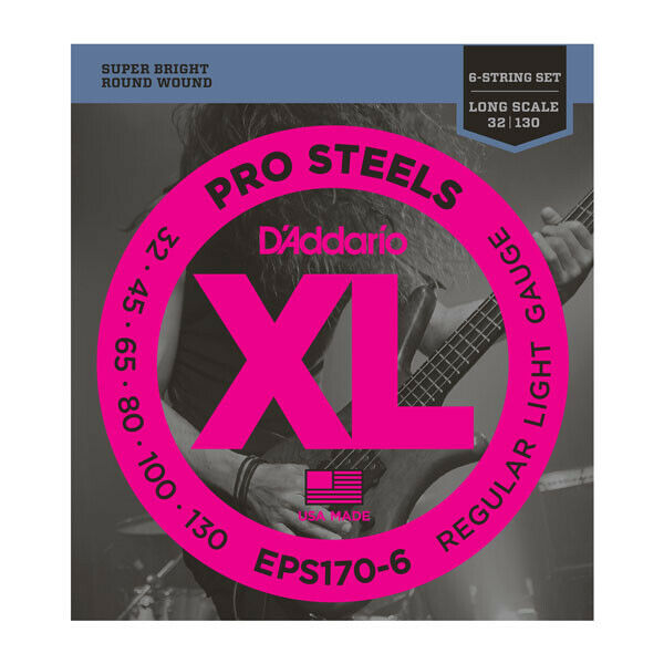 D'Addario 6-String ProSteel Stainless Steel 30-130 Gauge Long Scale Bass Strings