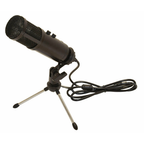 Citronic USB Podcast Mic WithTripod Stand,Pop Filter,USB Cable + Thread Adaptor