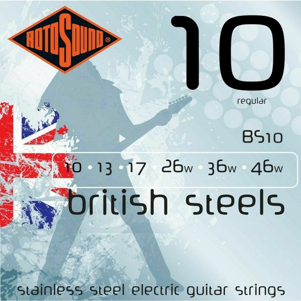Rotosound BS10 British Steel Stainless Steel Electric Guitar Strings, 10-46