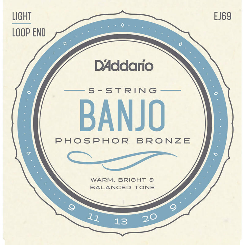 2 X D'Addario EJ69 5-String Banjo Strings, Phosphor Bronze Wound,Loop End,9-20