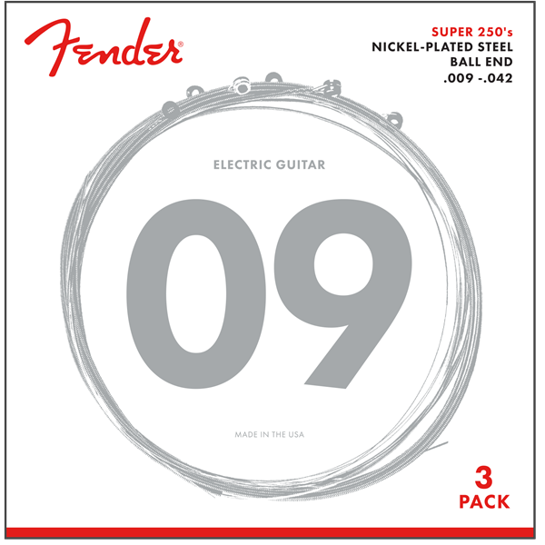 3 Pack Fender Super 250L  Guitar Strings, NPS Ball End P/N 0730250309