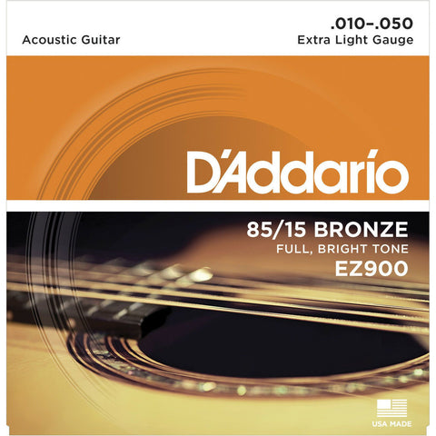 2 X D'Addario EZ900 Bronze Acoustic Strings 10-50. Light Feel, Big Projection.