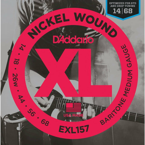 3 x D'Addario EXL157 Nickel Wound Baritone Electric Guitar Strings,Gauge 14-68