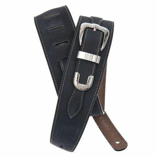 D'Addario Belt Buckle Leather Guitar Strap, Black.P/No:25LBB00