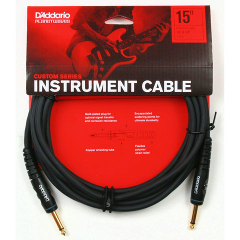 D'Addario PW-G-15. 15' Custom Series Instrument Cable. ¼ To ¼ Straight Jack